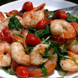 Sauteed Shrimp with Arugula and Tomatoes.