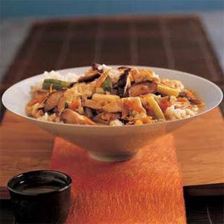 Vegetable Donburi Over Seasoned Rice.