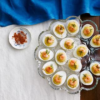 Deviled Eggs with Old Bay Shrimp