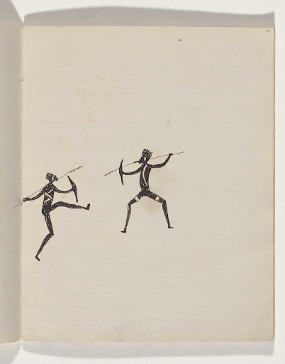 (Aboriginals fighting with spears and shields) Sketchbook mainly of activities of Aboriginals and Whites