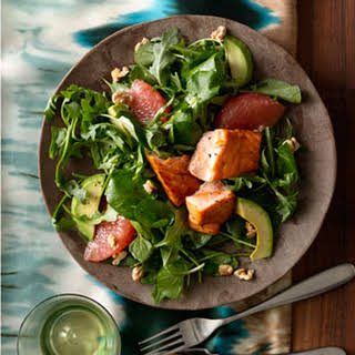 Grapefruit and Avocado Salad With Seared Salmon.