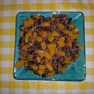 Roasted Butternut Squash with Autumn Grains, Browned Butter, Walnuts and Sage.