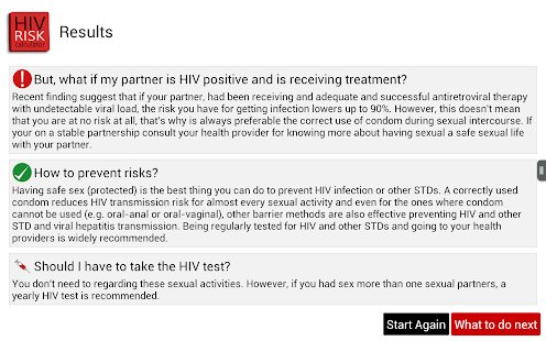 HIV RISK Calculator screenshot