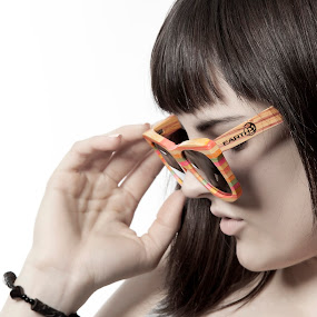 Earth Sunglasses by Joe Eddy - Artistic Objects Clothing & Accessories ( girl, wooden, glasses, wood, wearing, sunglasses )