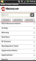 Screenshot of Mobile Product Selector