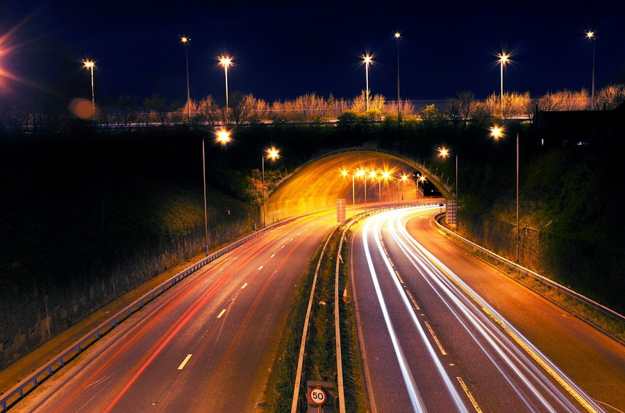 Journey by Mark Minas - City,  Street & Park  Night ( exposure, uk, cars, street, journey, night, elland, long, light, tunnel )
