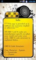 Screenshot of OBD Error Codes