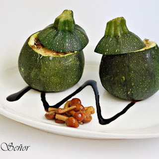 Zucchinis Stuffed with Mushrooms, Spring Garlic, and Cheddar Cheese.