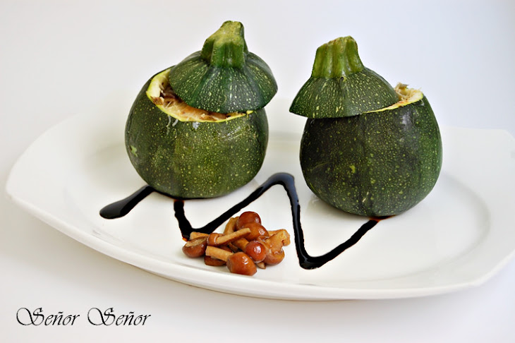Zucchinis Stuffed with Mushrooms, Spring Garlic, and Cheddar Cheese