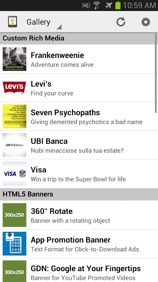 Mobile Ads Showcase - screenshot