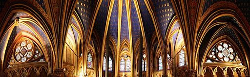 Interior-Sainte-Chapelle-Paris - The upper chapel of the Sainte Chapelle in Paris, built between 1242 and 1248 by King Louis IX of France and restored in the 1800s.