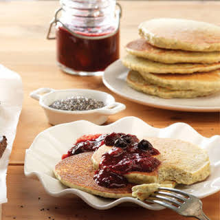 Lemon Chia Pancakes with Mixed Berry Compote.