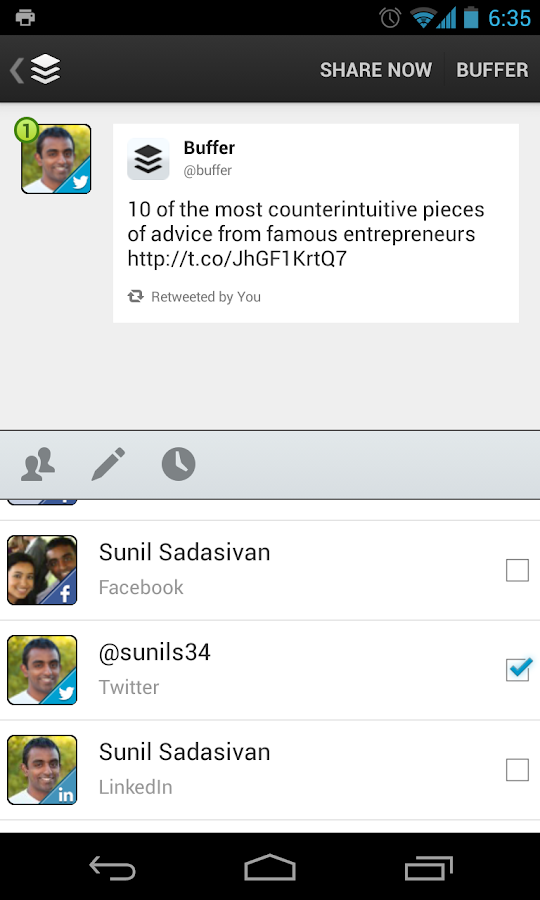 Buffer (Twitter, Facebook) - screenshot