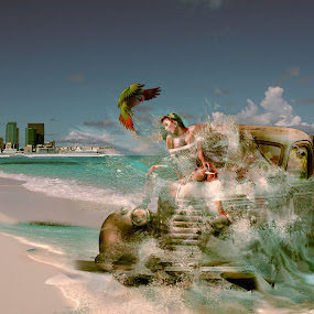 Another Day At Work by Felix M - Digital Art Places ( clouds, water, car, model, splash, vintage, waves, sea, ocean, exotic, bird, clear, sexy, sky, los angeles, beaut )
