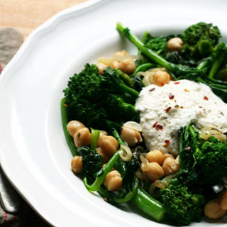 Spicy Broccoli Rabe with Chickpeas and Ricotta Cheese.