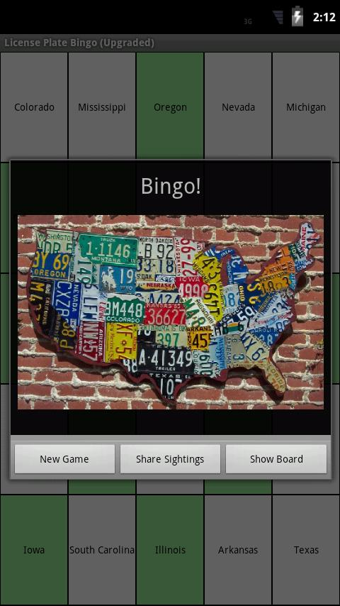 License Plate Bingo - screenshot