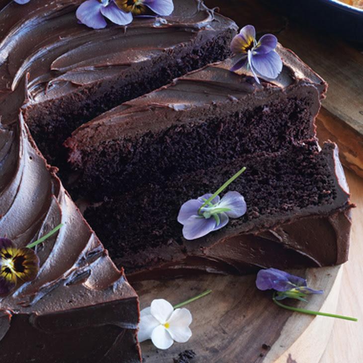 Giant Chocolate Cake with Bittersweet Chocolate Ganache and Edible Flowers Recipe