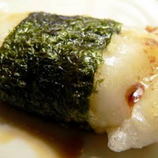 Broiled Mochi with Nori Seaweed.