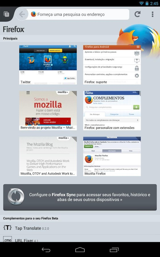 Firefox for Android- screenshot