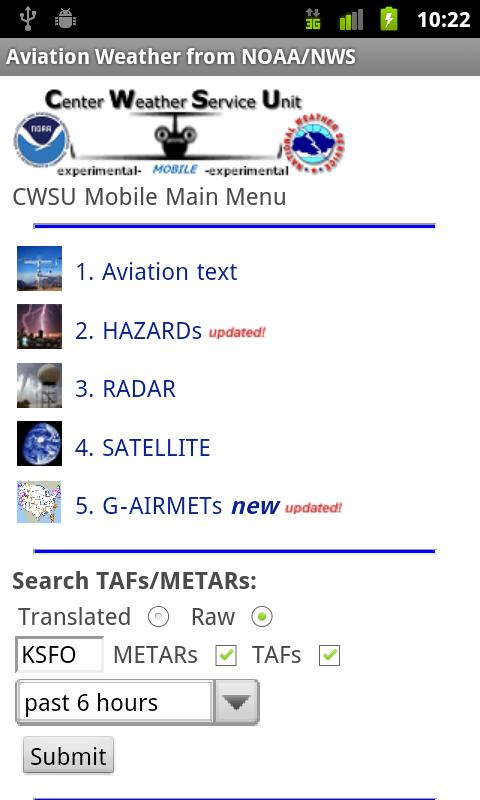 Aviation Weather from NOAA/NWS - screenshot