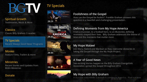 Billy Graham TV for GoogleTV