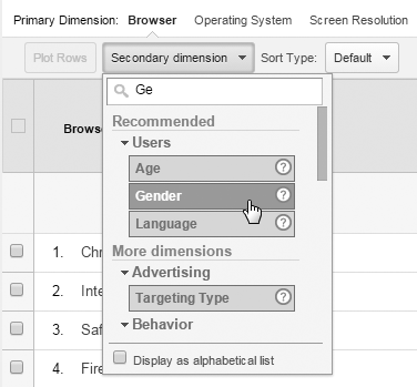 Secondary-dimension picker; browse, or enter dimension name.