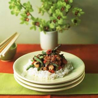 Chicken and Asparagus with Spicy Black Bean Sauce.