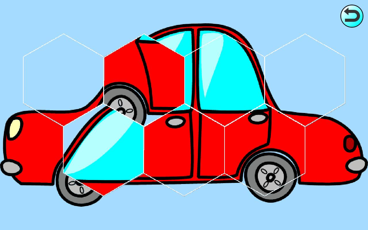 Kids Car Hex-Shaped Puzzles - screenshot