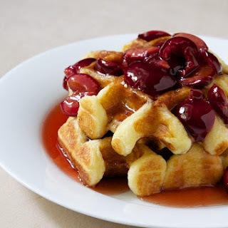 Best Buttermilk Waffles with Cherry Maple Syrup