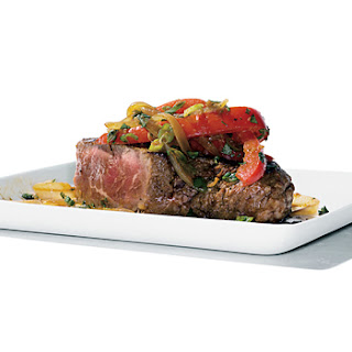 Asian Steak Topped with Bell Pepper Stir-Fry
