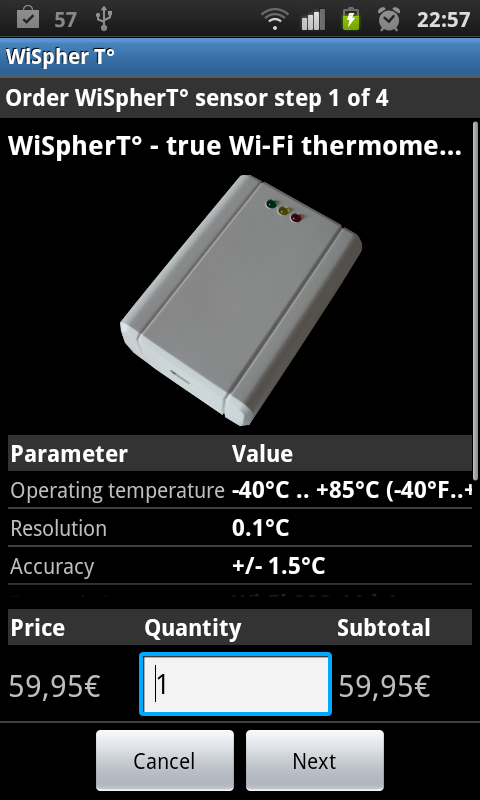 WiFi Thermometer WiSpherT°- screenshot