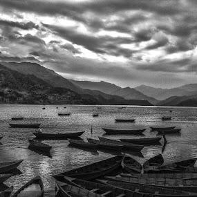 Phewa Lake, Nepal by Pritam Saha - Landscapes Cloud Formations ( black n white, cloud, landscape, photo, pheonix,  )