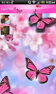 Pink Butterfly Theme Go SMS XO- screenshot thumbnail