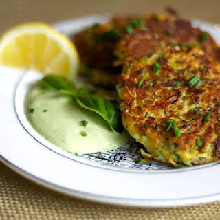 Zucchini Fritters with Lemon Basil Cashew Cream.