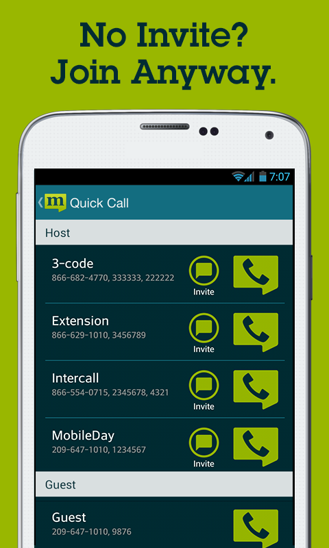 MobileDay One-Touch Dial App- screenshot