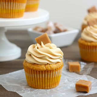 Brown Butter Pumpkin Cupcakes with Caramel Cream Cheese Frosting.