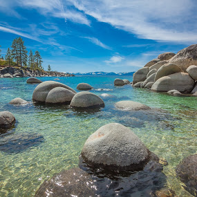 by Becca McKinnon - Landscapes Waterscapes ( water, california, beach, rocks, sand harbor, lake tahoe, relax, tranquil, relaxing, tranquility )