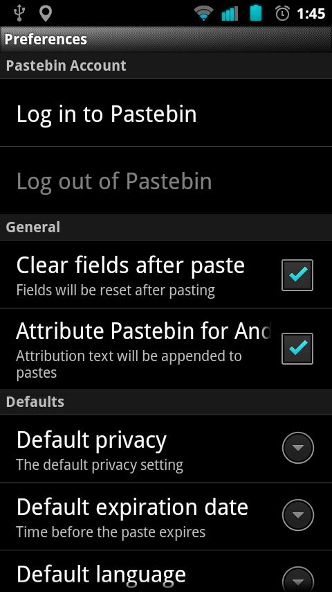 Pastebin for Android- screenshot