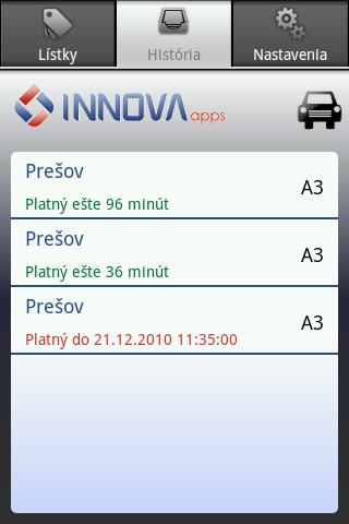 SMS Parkovací lístok- screenshot