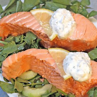 Poached Salmon with Lemon-Caper Herb Sauce.