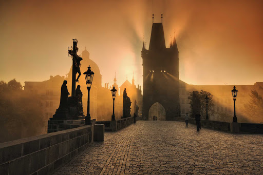 Czech-Prague-Charles-Bridge - The medieval Charles Bridge in Prague, the Czech Republic, at sunrise,