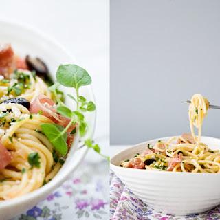 Prosciutto, Tomato, and Olive Spaghetti
