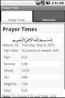 Screenshot of Prayer Time and Resturants