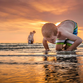 Searching for Shells by Sean Malley - Babies & Children Children Candids