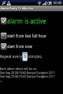 Alarm every 15 minutes- screenshot thumbnail