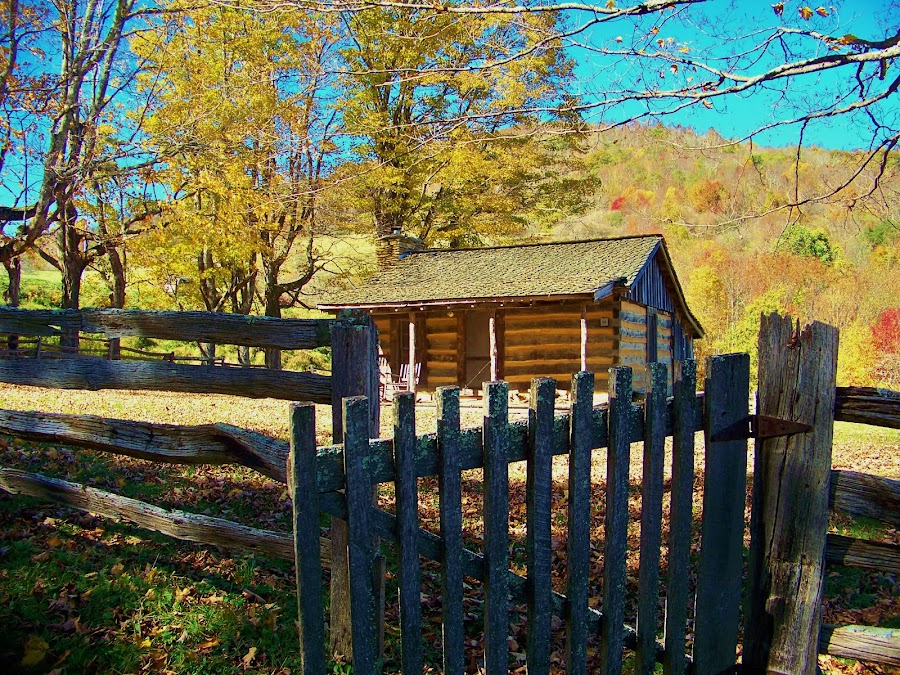 Old pioneer cabin at Grayson Highlands state park by Delores Mills - Buildings & Architecture Public & Historical ( fall, color, colorful, nature,  )