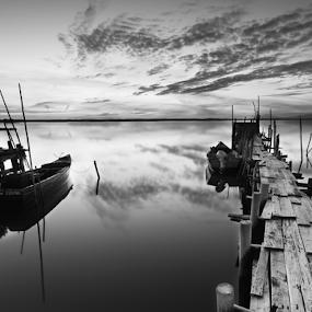 A piece of heaven by João Freire - Black & White Landscapes ( landcape, alentejo, palafitte pier, travel, boat, portugal,  )