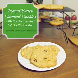 Peanut Butter Oatmeal Cookies With Cranberries and White Chocolate.