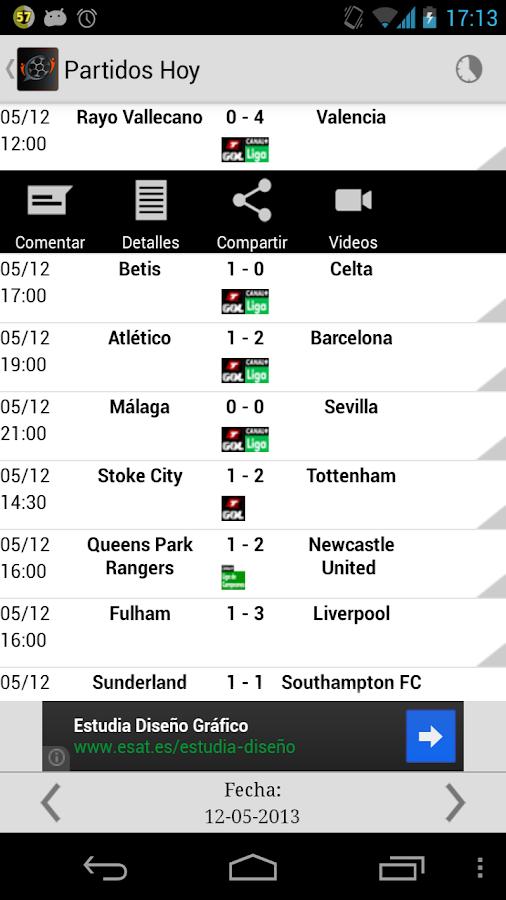 Social Fútbol - Resultados: captura de pantalla