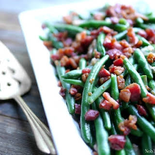 Fresh Green Beans with Bacon and Shallots.